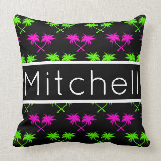 Black Palms Personalized Throw Pillow