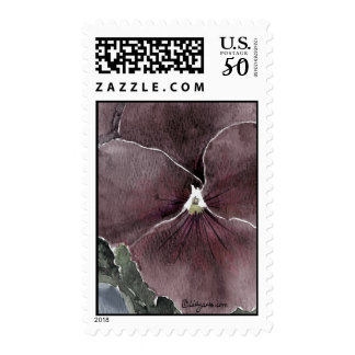 Black Pansy Watercolor Art Postage Stamps