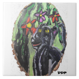 Black panther and flowers and Jungle Ceramic Tile