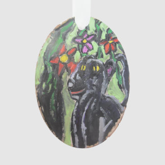 Black panther and flowers and Jungle Ornament