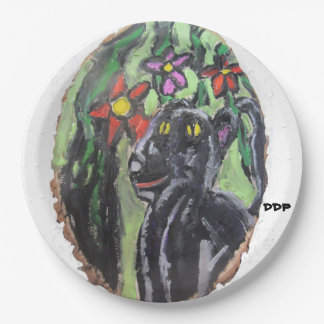Black panther and flowers and Jungle Paper Plate