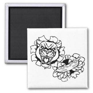 Black Panther Animal Gamer Mascot Magnet