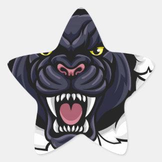 Black Panther Baseball Mascot Breaking Background Star Sticker
