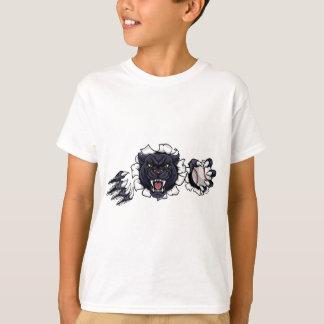Black Panther Baseball Mascot Breaking Background T-Shirt