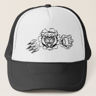 Black Panther Baseball Mascot Breaking Background Trucker Hat