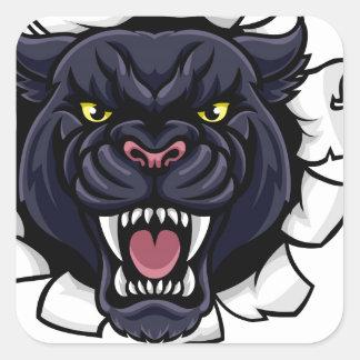 Black Panther Basketball Mascot Square Sticker