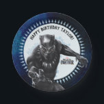 "Black Panther | Birthday Paper Plate<br><div class=""desc"">Celebrate your child&#39;s birthday with these Black Panther themed paper plates! Personalize with your child&#39;s name in the template field provided.</div>"
