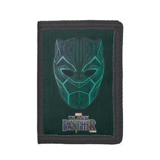 Black Panther   Black Panther Etched Mask Tri-fold Wallet