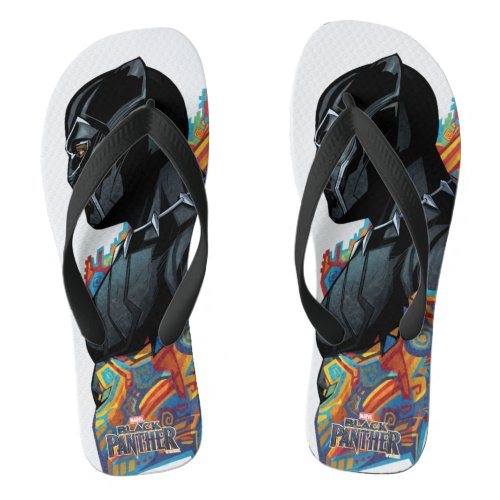 Black Panther  Black Panther Tribal Graffiti Flip Flops