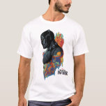 """Black Panther   Black Panther Tribal Graffiti T-Shirt<br><div class=""""desc"""">Black Panther is painted in side profile with several bright colors in Wakandan tribal pattern painted around him,  Okoye overlooking his shoulder.</div>"""