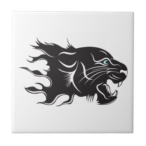 Black Panther Blue Eyes Ceramic Tile