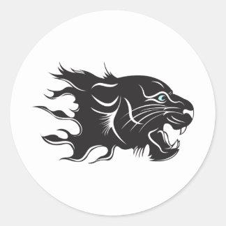 Black Panther Blue Eyes Classic Round Sticker
