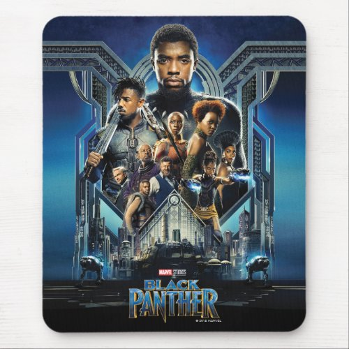 Black Panther   Characters Over Wakanda Mouse Pad