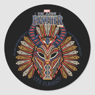 Black Panther   Erik Killmonger Tribal Mask Icon Classic Round Sticker