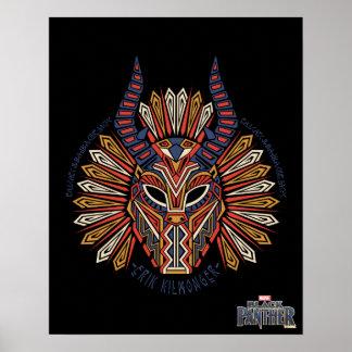 Black Panther   Erik Killmonger Tribal Mask Icon Poster