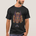 """Black Panther   Erik Killmonger Tribal Mask Icon T-Shirt<br><div class=""""desc"""">This is an icon representing the tribal mask worn by Erik Killmonger,  featuring his name written along the bottom.</div>"""