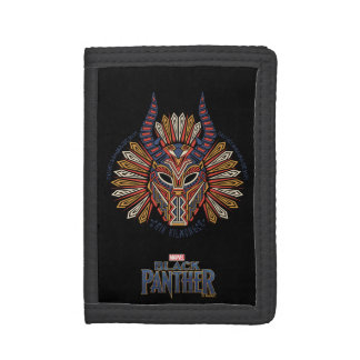 Black Panther   Erik Killmonger Tribal Mask Icon Tri-fold Wallet
