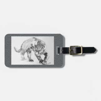 Black Panther Fine Art Gray Faux Leather Bag Tag