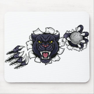 Black Panther Golf Mascot Breaking Background Mouse Pad
