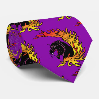 Black Panther Head Flames Sports Football Necktie