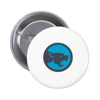 Black Panther Head Growling Circle Retro Pinback Button