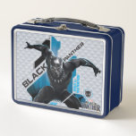 "Black Panther | High-Tech Character Graphic Metal Lunch Box<br><div class=""desc"">Black Panther crouches with arms outstreched in this high-tech graphic with tribal pattern edges that reads: Black Panther,  King of Wakanda.</div>"