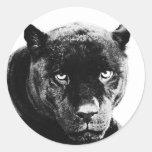 Black Panther Jaguar Round Sticker