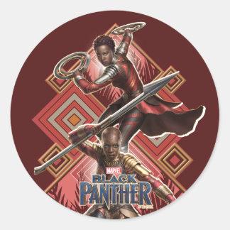 Black Panther | Nakia & Okoye Wakandan Graphic Classic Round Sticker