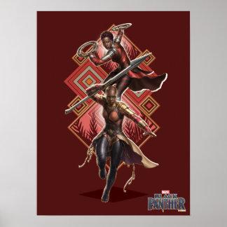 Black Panther | Nakia & Okoye Wakandan Graphic Poster