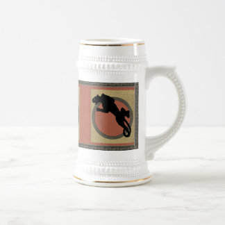 Black Panther on Gold and Red 18 Oz Beer Stein