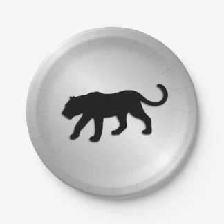 Black Panther on Silver Paper Plate