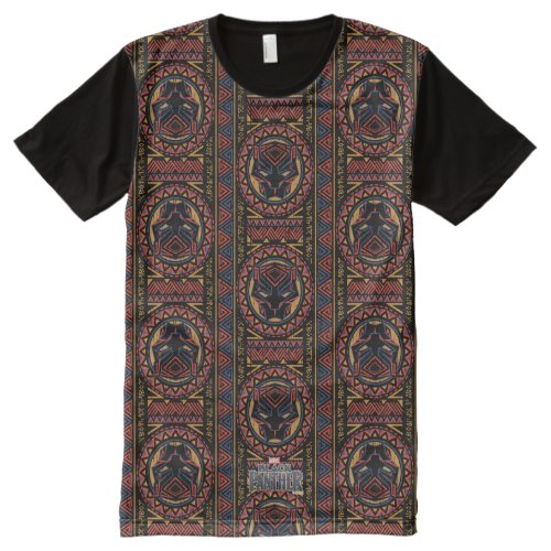 Black Panther  Panther Head Tribal Pattern All_Over_Print T_Shirt