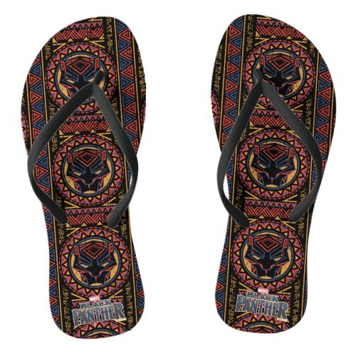 Black Panther  Panther Head Tribal Pattern Flip Flops