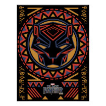 Black Panther | Panther Head Tribal Pattern Poster