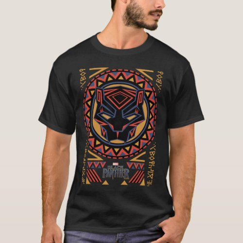 Black Panther  Panther Head Tribal Pattern T_Shirt