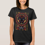 """Black Panther   Panther Head Tribal Pattern T-Shirt<br><div class=""""desc"""">Check out this Wakandan tribal pattern design featuring a black panther head.</div>"""