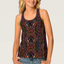 Black Panther | Panther Head Tribal Pattern Tank Top