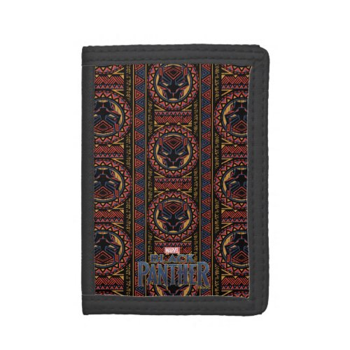 Black Panther  Panther Head Tribal Pattern Tri_fold Wallet