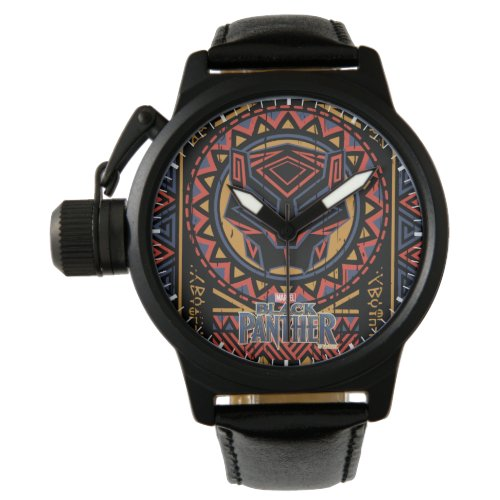 Black Panther  Panther Head Tribal Pattern Wrist Watch