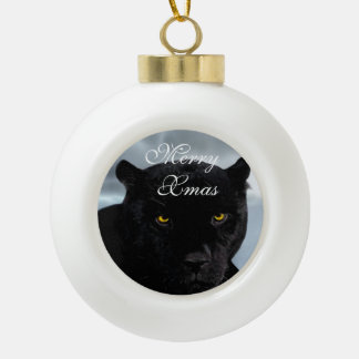Black Panther Panthera Ceramic Ball Christmas Ornament