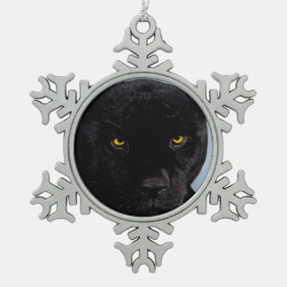 Black Panther Panthera Snowflake Pewter Christmas Ornament