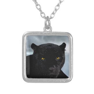 Black Panther Panthera Square Pendant Necklace