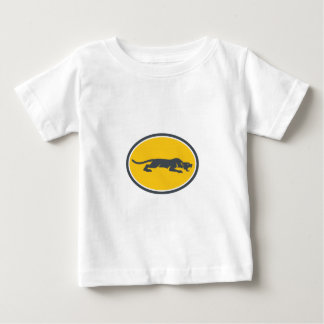Black Panther Prowling Oval Retro Baby T-Shirt