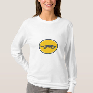 Black Panther Prowling Oval Retro T-Shirt