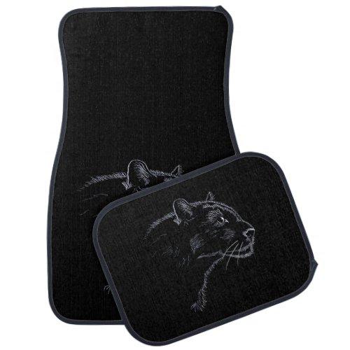 Black panther _ sketch car floor mat