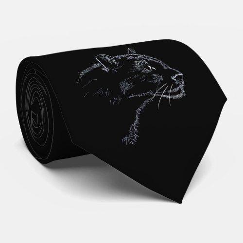 Black panther _ sketch neck tie