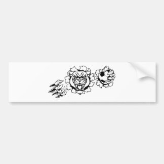 Black Panther Soccer Mascot Breaking Background Bumper Sticker
