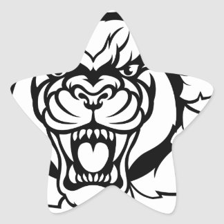 Black Panther Soccer Mascot Breaking Background Star Sticker