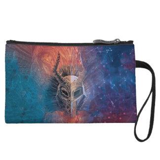 Black Panther   Tribal Mask Overlaid Art Wristlet Wallet