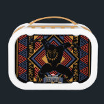 """Black Panther   Wakandan Black Panther Panel Lunch Box<br><div class=""""desc"""">This is a graphic panel that features the Black Panther and panther head icon within a Wakandan tribal themed border.</div>"""